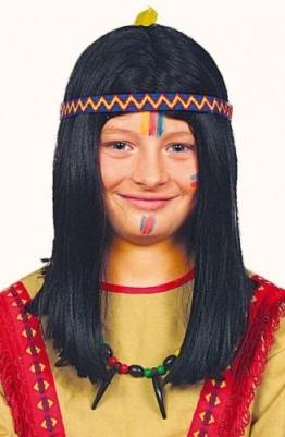Perücke: Winnetou-Perücke, schwarz, Kindergröße - 1