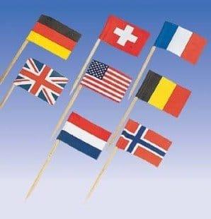 Picker: Flaggenspießchen, international, 65 mm, 30er-Pack - 1