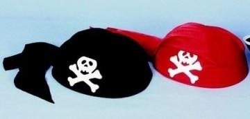 Piraten-Kostüm: Piratenkappe, schwarz, weißer Totenkopf, Kinder-Einheitsgröße - 1