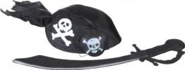 Piraten-Set, 6-teilig mit Messer, Augenklappe, Kopfband, Tuch, Ohrring, Kette - 1