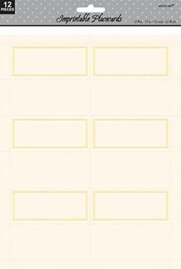 Platzkarten, bedruckbar, elfenbein, 22,8 x 27,9 cm, 12 Stück - 1