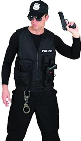 """Polizist-Kostüm: Weste, mit Taschen, Aufdruck """"Police"""", schwarz, Einheitsgröße - 1"""