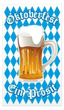 "Poster: Türposter, ""Oktoberfest"", Bierkrug, weiß-blaue Rauten, Folie, 70 x 120 cm - 1"
