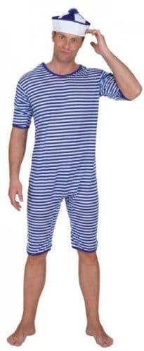 Ringel-Badeanzug blau-weiß - 1