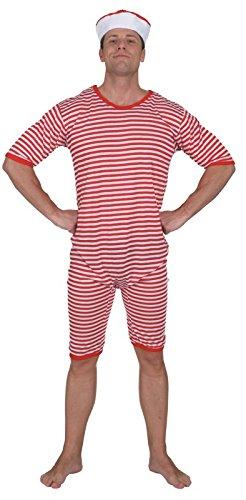 Ringel-Badeanzug rot-weiß - 1