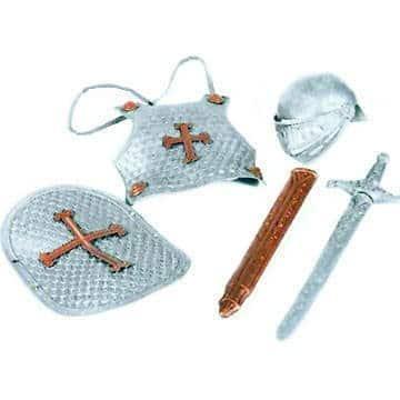 Ritter-Kostüm: Rüstung, Helm, Schwert, Schild, Kunststoff, Kindergröße - 1