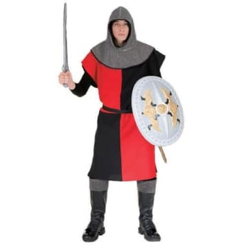 Ritter-Kostüm: Waffenrock, schwarz-rot viergeteilt - 1