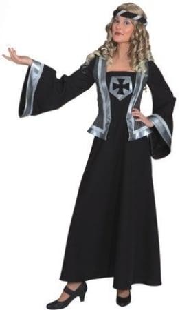 Ritterdame langes Kleid mit Kopfband - 1