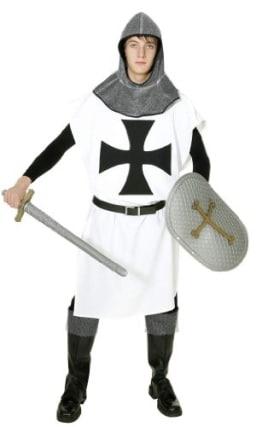 Rittergewand-Kostüm: Waffenrock, Schwarz-Weiß, 1,25 m, Einheitsgröße - 1