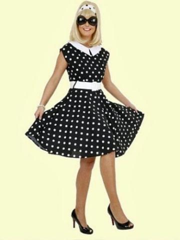 Rock 'n Roll Kleid schwarz und weiß gepunktet - 1