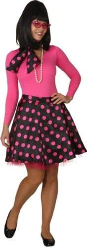 Rock 'n Roll Rock mit Petticoat und Halstuch schwarz und pink gepunktet - 1