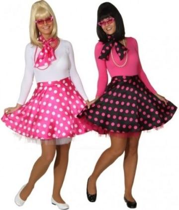 Rock 'n Roll Rock mit Petticoat und Halstuch schwarz und pink gepunktet - 3