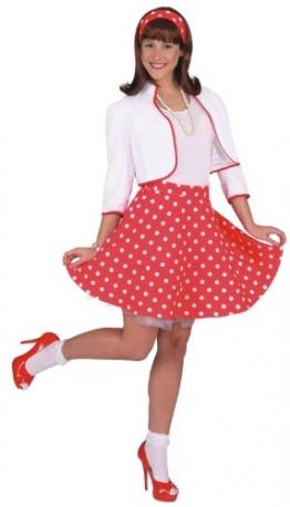 Rock'n Roll Rock mit Petticoat rot und weiß gepunktet - 1
