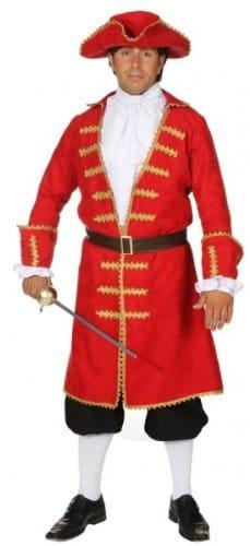 roter Piratenmantel mit Gürtel, Jabot und Hut - 1