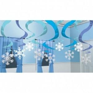 Rotorspirale: Deckenhänger, spiralförmig, Schneeflocken, 60 cm, 15er-Pack - 1
