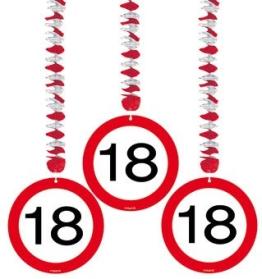Rotorspirale, Verkehrsschild mit der Zahl 18, 75 cm, 3er-Pack - 1