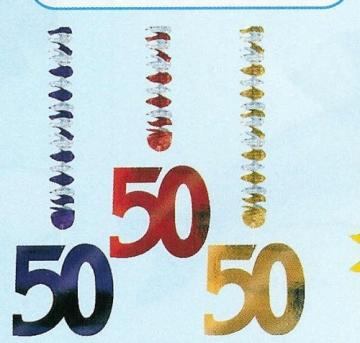 Rotorspirale, Zahl 50, verschiedene Farben, 75 cm, 3er-Pack - 1