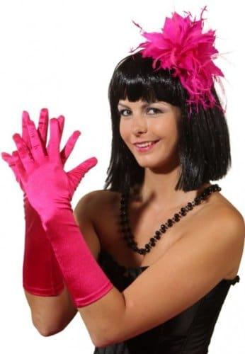 Satin-Handschuhe ca. 40cm pink - 1