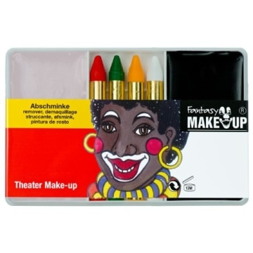 Schminkset für Afrikaner: Grundschminke, Abschminke und 4 farbige Stifte - 1
