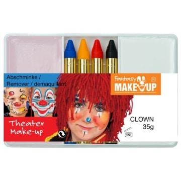 Schminkset für den Clown: Grundschminke, Abschminke und 4 farbige Stifte - 1