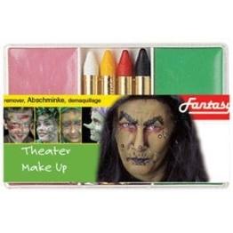 Schminkset: Grundschminke, Abschminke und 4 farbige Stifte für die Halloween-Hexe - 1