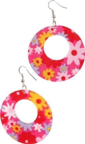 Schmuck: Hippie-Ohrringe mit Blumenmuster - 1