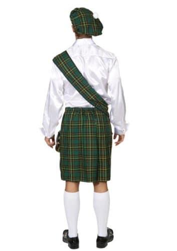 Schotten-Kostüm: Barett, Schärpe und Rock, Einheitsgröße, grün - 2
