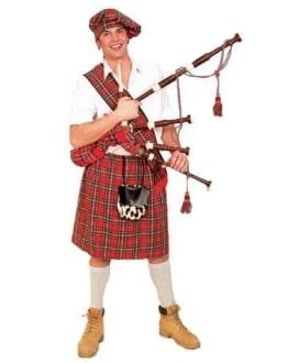 Schotten-Kostüm: Barett, Schärpe und Rock, Einheitsgröße, rot - 1