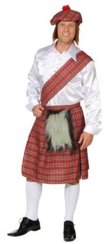 Schotten-Kostüm: Rock, Mütze mit Fell, rot, Einheitsgröße - 1