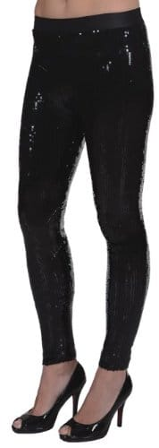 schwarze Paillettenleggings - 1