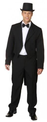 schwarzer Herrenfrack mit Satinkragen und Futterstoff - 1