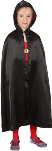 schwarzer Satin-Umhang mit Kapuze - 1