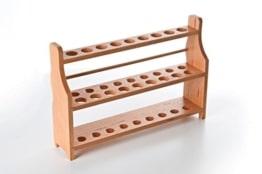 SCHWEFELFADEN Reagenzglasständer für 18 Reagenzgläser bis 18 mm Durchmesser Reagenzglasgestell aus Holz (lasiert) -