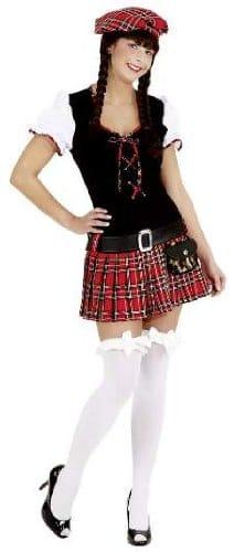 Scottish Girl rot : Kleid, Barett und Gürtel - 1