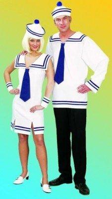 Seemannsfrau: Kostüm mit kurzem Kleid, Mütze, Armstulpen - 1