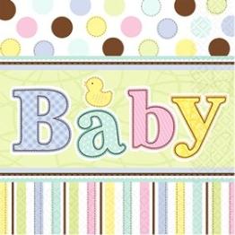 Servietten, bunt mit Baby-Schriftzug, 33 x 33 cm, 36er-Pack - 1