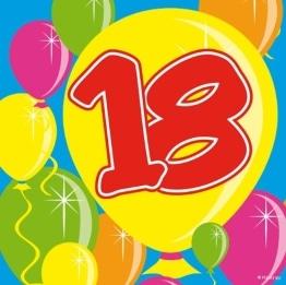 Servietten: Cocktail-Servietten, Zahl 18, Serie Balloons, 25 x 25 cm, 20er-Pack - 1