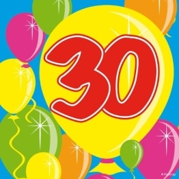 Servietten: Cocktail-Servietten, Zahl 30, Serie Balloons, 25 x 25 cm, 20er-Pack - 1