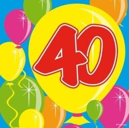 Servietten: Cocktail-Servietten, Zahl 40, Serie Balloons, 25 x 25 cm, 20er-Pack - 1