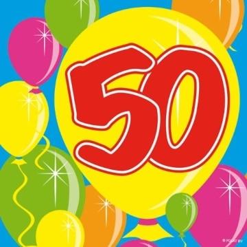 Servietten: Cocktail-Servietten, Zahl 50, Serie Balloons, 25 x 25 cm, 20er-Pack - 1