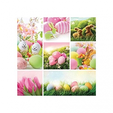 Servietten Ostern Rosa Eier, Hasen bunt