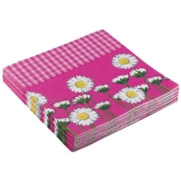 """Servietten: Party-Servietten """"Daisy Pink"""", 33 x 33 cm, 20 Stück - 1"""