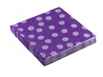 """Servietten: Party-Servietten """"Dots Purple"""", 33 x 33 cm, 20 Stück - 2"""