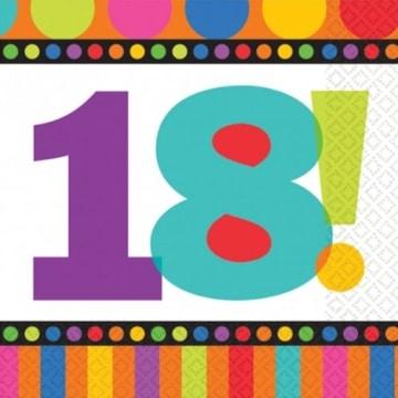 """Servietten: Party-Servietten, """"Dots & Stripes"""", Zahl 18, 33 x 33 cm, 16er-Pack - 1"""