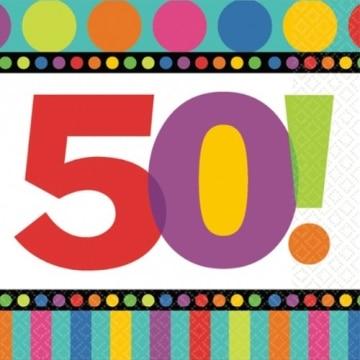 """Servietten: Party-Servietten, """"Dots & Stripes"""", Zahl 50, 33 x 33 cm, 16 Stück - 1"""