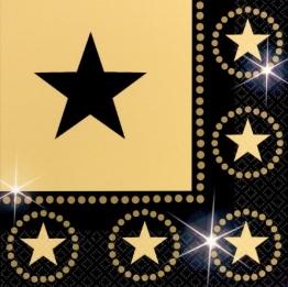 """Servietten: Party-Servietten, """"Hollywood Sterne"""", 33 x 33 cm, 16 Stück - 1"""
