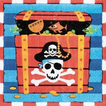 "Servietten: Party-Servietten, ""Piraten-Schatzkiste"", 33 x 33 cm, 16 Stück - 1"
