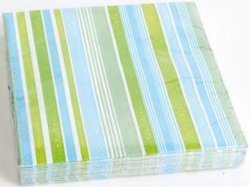 "Servietten: Party-Servietten ""Stripes Blue"", 33 x 33 cm, 20 Stück - 1"
