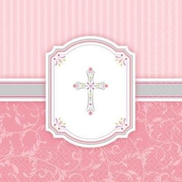 Servietten, rosa mit Kreuz, dreilagig, 33 x 33 cm, 16er-Pack - 1