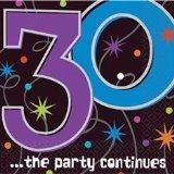 Servietten zum 30. Geburtstag 'Party Continues' 16er-Pack - 1
